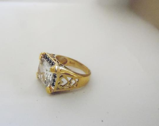 Technibond Technibond Clear Topaz Ring with Blue Sapphire Accents size 7
