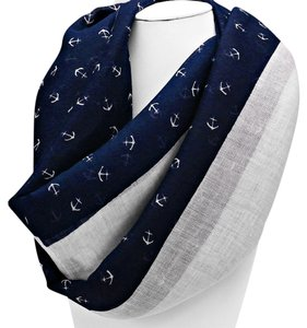Nautical By The Sea Navy Blue and White Anchor Forever Infinity Scarf