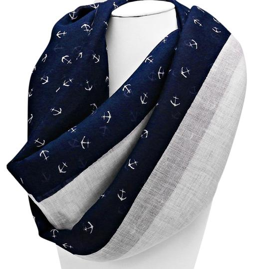 Other Nautical By The Sea Navy Blue and White Anchor Forever Infinity Scarf
