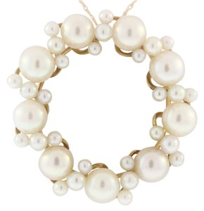 Other Vintage Pearl Wreath Brooch- 18k Yellow Gold
