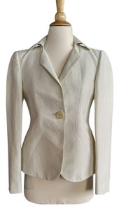 Armani Collezioni White Tailored Constructed Linen Off-white Jacket