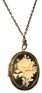 Other Black Cameo Locket Necklace with chain