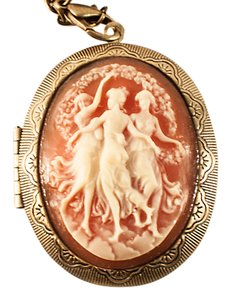 Other Pink Cameo Locket Necklace with chain