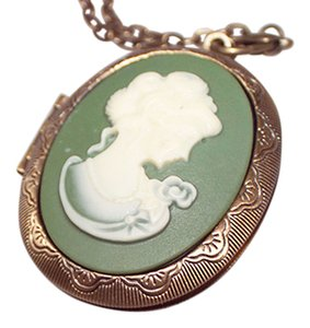 Green Cameo Locket Necklace with chain