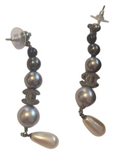 Chanel grey black pearly dangle cc
