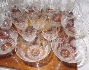 Vtg Grapeyards Floral Design Crystal Stemware Wine/liquor Shot Glass