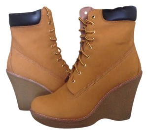 Jeffrey Campbell Lace Up Wedge Heel Wheat Leather Boots