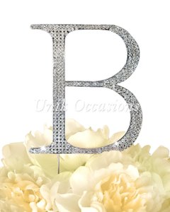 Unik Occasions Rhinestone Cake Topper - Letter B - Large - Silver