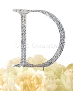 Unik Occasions Rhinestone Cake Topper - Letter D - Large - Silver