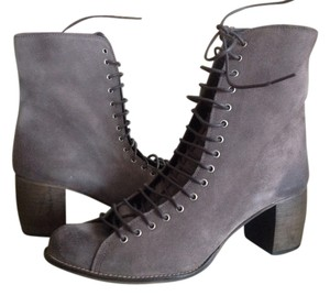 Jeffrey Campbell Lace Up Side Zip Grey Suede Boots
