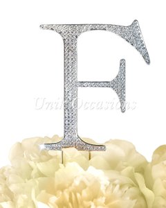 Unik Occasions Rhinestone Cake Topper - Letter F - Large - Silver