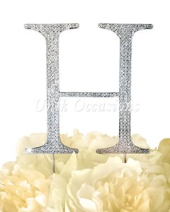 Unik Occasions Rhinestone Cake Topper - Letter H - Large - Silver