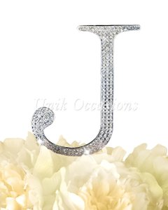 Unik Occasions Rhinestone Cake Topper - Letter J - Large - Silver