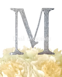 Unik Occasions Rhinestone Cake Topper - Letter M - Large - Silver