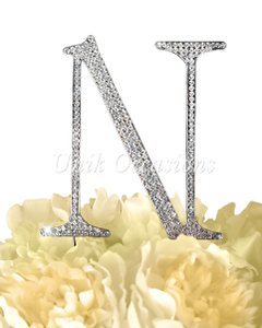 Unik Occasions Rhinestone Cake Topper - Letter N - Large - Silver