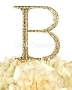 Unik Occasions Rhinestone Cake Topper - Letter B - Large - Gold