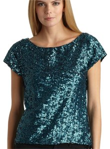 Alice + Olivia Sequin High-low Short Sleeve Top blue (teal)