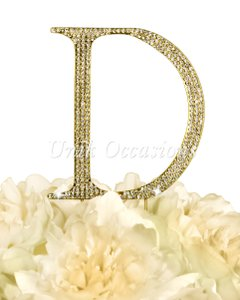 Unik Occasions Rhinestone Cake Topper - Letter D - Large - Gold