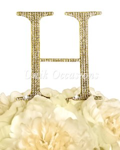 Unik Occasions Rhinestone Cake Topper - Letter H - Large - Gold