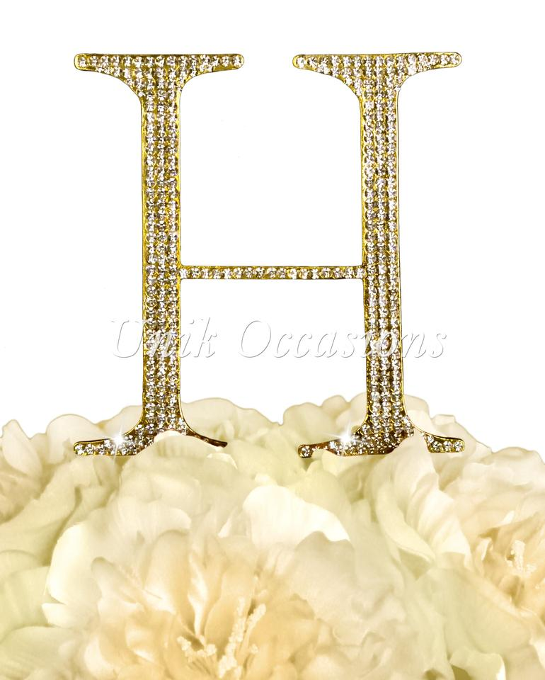 Gold Unik Occasions Rhinestone - Letter H - Large - Cake Topper ...