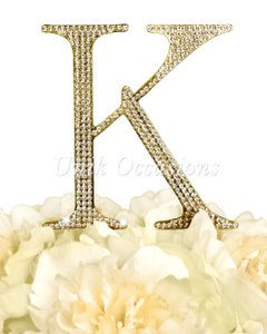 Unik Occasions Rhinestone Cake Topper - Letter K - Large - Gold