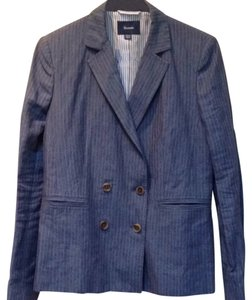 Façonnable Linen Logo Pinstripe Double Breasted blue Blazer