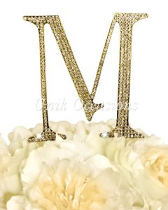 Unik Occasions Rhinestone Cake Topper - Letter M - Large - Gold