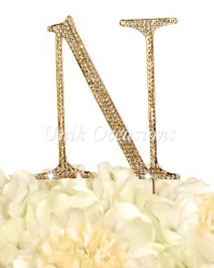 Unik Occasions Rhinestone Cake Topper - Letter N - Large - Gold