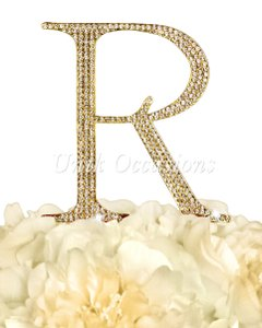 Unik Occasions Rhinestone Cake Topper - Letter R - Large - Gold