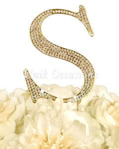 Unik Occasions Rhinestone Cake Topper - Letter S - Large - Gold