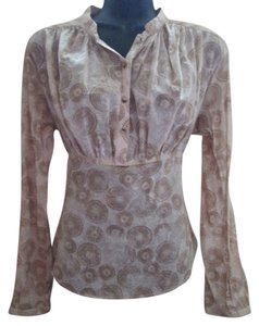 Banana Republic Boho Peasant Fall Autumn Spring Top Tan & Brown