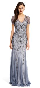 Adrianna Papell Sterling Short Sleeve Beaded Gown Dress