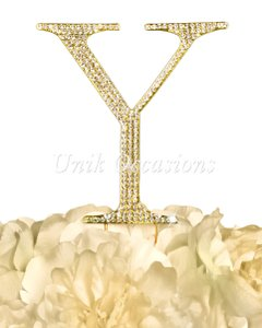 Unik Occasions Rhinestone Cake Topper - Letter Y - Large - Gold