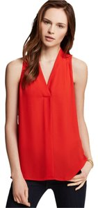 Vince Camuto Sleeveless V-neck Top Red Coral