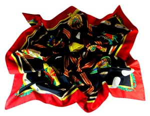 Gucci Red/Gold/Black, Golf Theme, 100% Silk Scarf Foulard