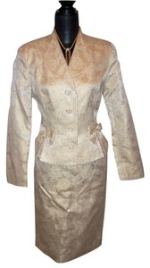 Rickie Freeman for Teri Jon Rickie Freeman for TJ Nites Metallic Gold Skirt Suit Sz 8