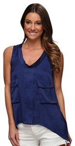 BCBGMAXAZRIA Silk Pockets Back Detail Asymmetrical Tank Top Blue