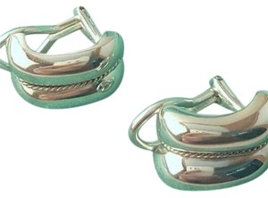 Tiffany & Co. BEAUTIFUL!!! Tiffany & Co. 14 Karat Yellow Gold and Sterling Silver Sculptured Design with Center Braid Earrings. 100% Authentic Guaranteed!!!! Comes With Tiffany Pouch and Complimentary Tiffany Blue Colored Polishing Cloth!!!