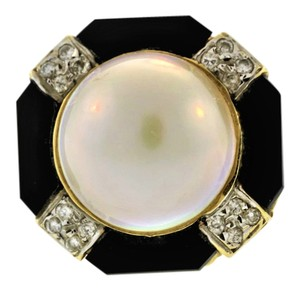 Other Antique Onyx, Pearl And Diamond Ring- 14k Yellow Gold