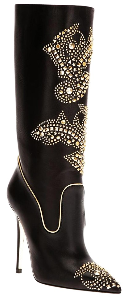 c7ddaed4d234 Versace Black Box New In Studded Western Leather Pumps Boots/Booties ...