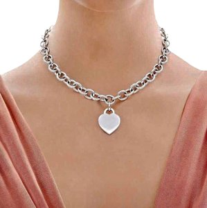 Tiffany & Co. CLASSIC!! Tiffany & Co. Heart Tag Necklace Sterling Silver 15