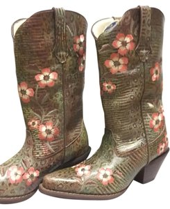 Durango Cowboy Cowgril Pink Floral Embroidered green, pink Boots