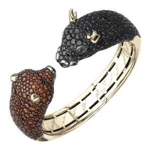 Manhattan Manhattan Cognac & Black Diamond Bull & Bear Cuff Bracelet