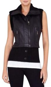 BCBGMAXAZRIA Leather Ribbed-trim Edgy Vest