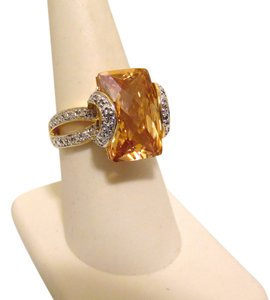 Technibond Technibond Pineapple Citrine Ring with Diamond Accents 8