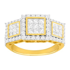 Finecraft FINECRAFT 2 ct Pavé Diamond Trio Ring