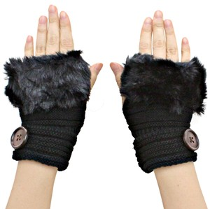 Other Black Knitted Fur Trimmed Fingerless Button Accent Gloves