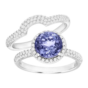 Finecraft FINECRAFT 2 1/4 ct Tanzanite & 5/8 ct Diamond Engagement Ring Set
