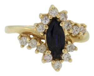 Other Marquise Cut Sapphire And Diamond- 14k Yellow Gold