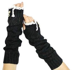 Black Knitted Lace Trim Buttoned Fingerless Arm Warmer Gloves